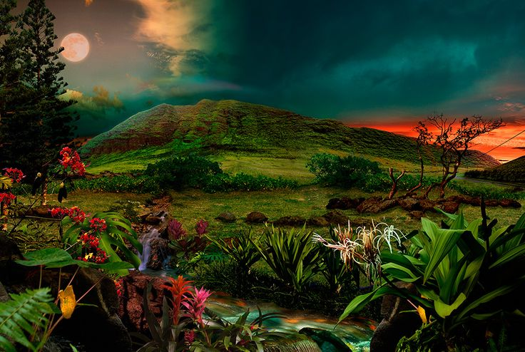 West of the Sun, East of the Moon at Lua Lua Lei / Satoshi Matsuyama  #Satoshi Matsuyama #Hawaii #art #Landscape