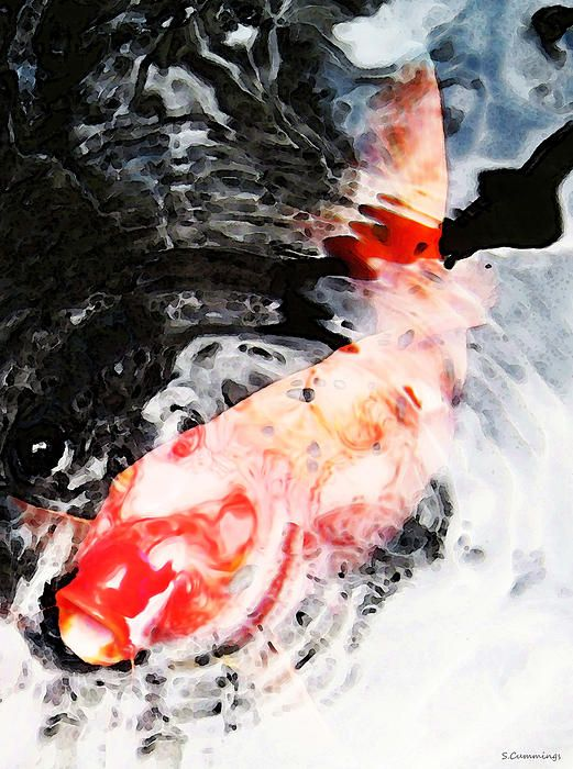 Asian koi fish black white and red painting by sharon for Koi fish art print
