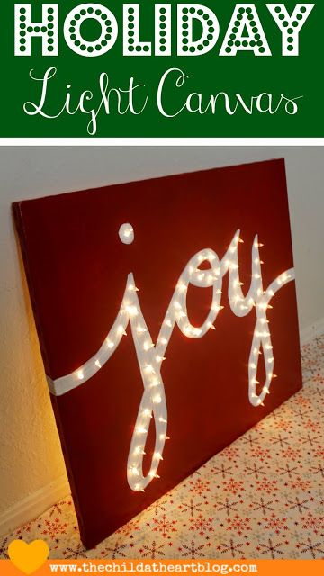 """Child at Heart: Holiday """"JOY"""" Light Marquis Canvas"""