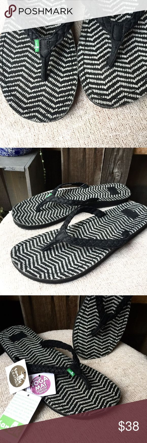 🌴 SANUK 🌴  Braided leather flip flop sandals NWT • SANUK • Flip Flop Sandals • Braided Black Leather Straps •  Black and Cream Zig Zag Pattern on Sole • Yoga Mat Cushioned Soles • US Women's Size 8 • Sanuk Shoes Sandals