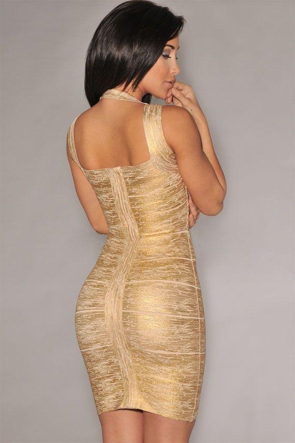 Sukienka złota bandażowa elegancka celebrity
