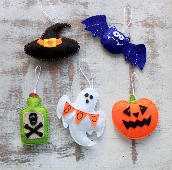Adornos de fieltro de Halloween set - set de 5 - listo para enviar