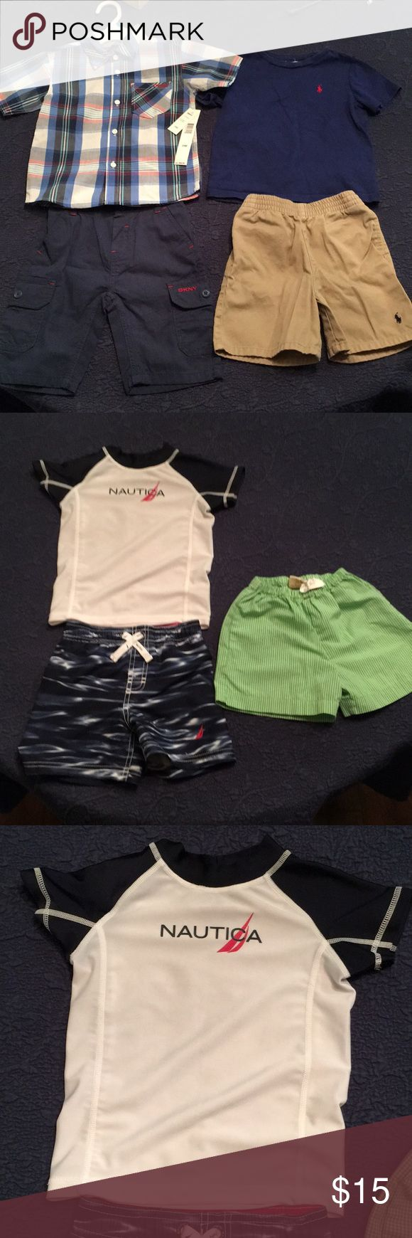 Bundle of Boys' 24 month clothes, 7 pieces total I am selling a bundle of Boys' clothing size 24 months. Included is a pair of beige Ralph Lauren shorts, a royal blue Ralph Lauren tee, a NWT DKNY set (plaid button down shirt and navy shorts), a pair of green gingham shorts, and a Nautica swim set (trunks and swim tee). Total of 7 pieces. All are in good preowned condition except the DKNY outfit, which is NWT. Thanks for looking and any questions please ask! Other #Lookmarinero