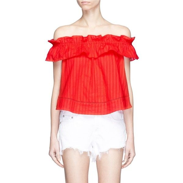 Nicholas 'Sofia' stripe ruffle off-shoulder top ($245) ❤ liked on Polyvore featuring tops, red, off shoulder tops, red off shoulder top, ruffle top, off-the-shoulder ruffle tops and ruffle crop top