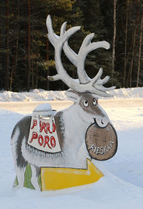 Reindeer drawing in front of Pörröporo shop at the Arctic Circle in Pello in Lapland