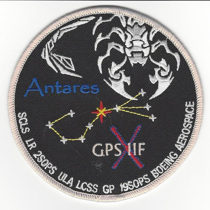"Patch issued by the 45th LCSS Support Squadron for mission launched aboard a United Launch Alliance (ULA) AtlasV-401 rocket to place the 10th in a series of 12 new GPS satellites in orbit.  The satellite is named Antares, after the brightest star in the Constellation Scorpius which is also ofter referred to ""the heart of the scorpion"" .  The Roman numeral 10 (X) refers to the 10th satellite in the constellation of 12 GPS satellites to be placed in orbit.   The star glows red just as it does…"