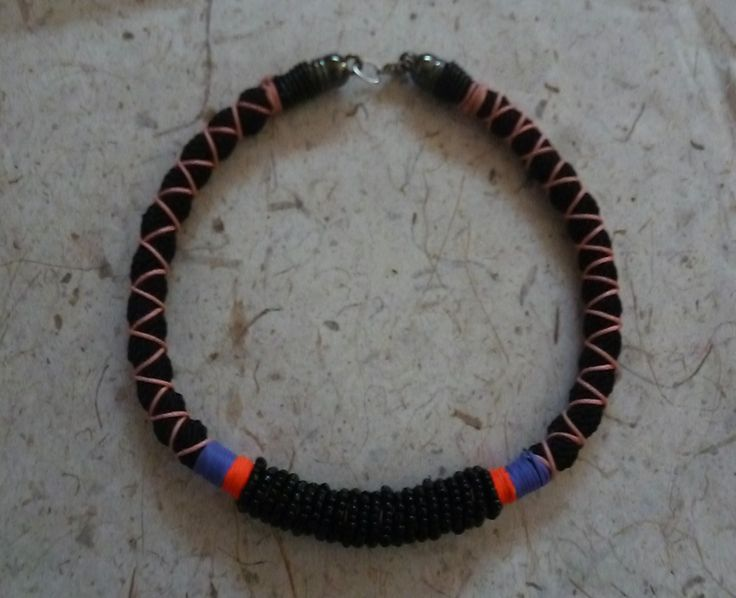 with cord and beads