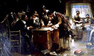 """""""Signing the Mayflower Compact,"""" oil painting by Edward Percy Moran, circa 1900. #mayflower"""
