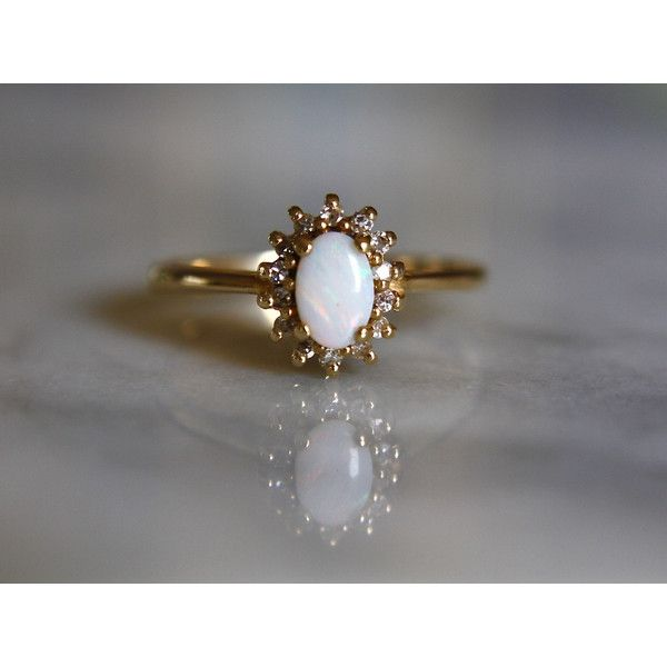 MY DREAM WEDDING RING ANTIQUE OPAL DIAMOND 14k gold halo engagement ring size 7 circa 1960s ($520) ❤ liked on Polyvore featuring jewelry, rings, antique diamond ring, engagement rings, vintage opal ring, 14k yellow gold ring and diamond rings