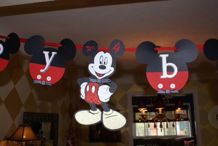 Mickey Mouse Birthday banner made with cricut