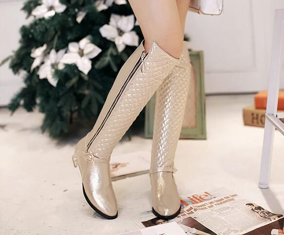 Hot Ladies Strap Zipper Knee High Grid Boots Womens Riding Cuban Heels Shoes Sz1