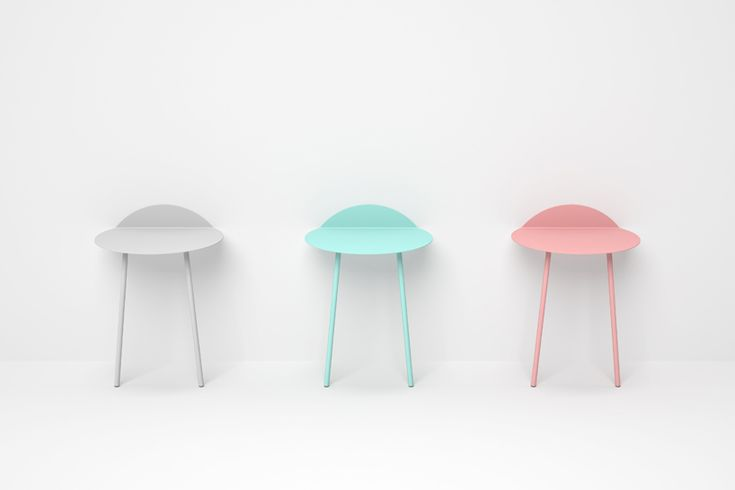 Kaki by Kenyon Yeh.  Self supporting wall table.  For magazines, a book, flower pot...