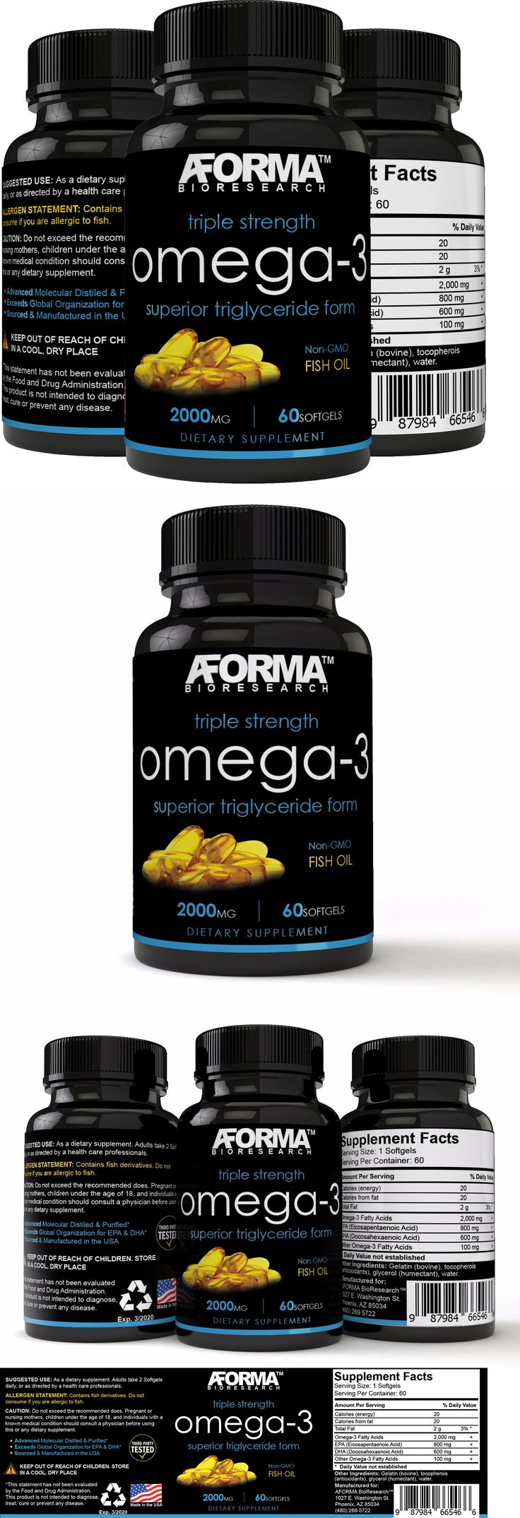 Vitamins and Minerals: Ultra Fish Oil Omega-3 2000Mg Supplement W 800 Epa + 600 Dha High Potency -> BUY IT NOW ONLY: $49.99 on eBay!