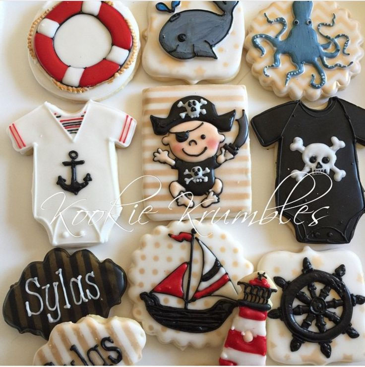 A pirates life's for me. Pirate baby shower themed cookies. by IbKookieKrumbles on Etsy