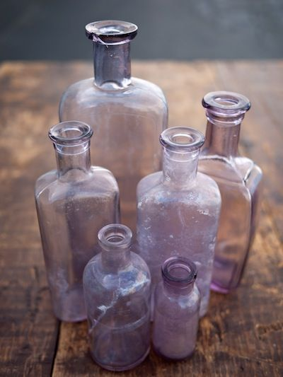 Purple Glass Bottles - cute rental if in color palette