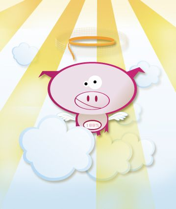 Fat goes to heaven. Cute pig illustration.
