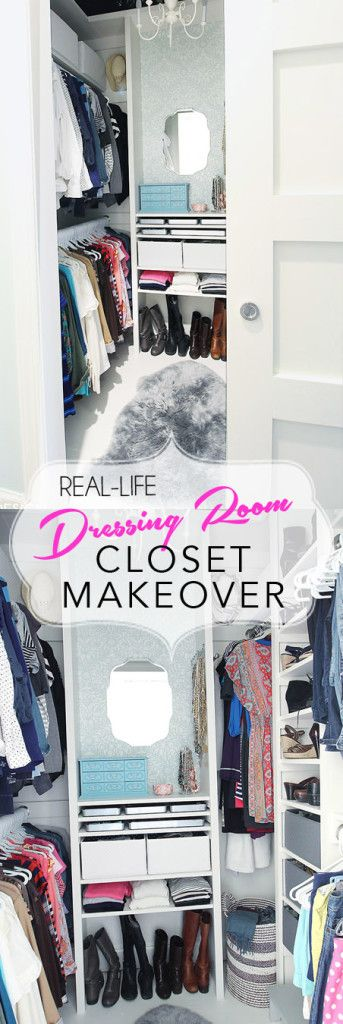 Real life closet makeover. Create a glamorous closet dressing room from any small closet. DIY closet makeover.