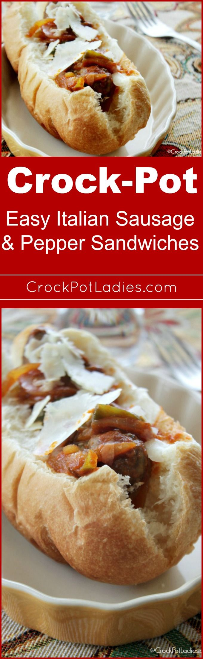 Crock-Pot Easy Italian Sausage & Pepper Sandwiches - Try this super easy way to make Slow Cooker Easy Italian Sausage & Pepper Sandwiches in your crock-pot cooker. A great lunch or dinner recipe for families on the go! Just 4 ingredients and dinner is on the table. BONUS... can also be made into a slow cooker freezer meal! | CrockPotLadies.com via @CrockPotLadies