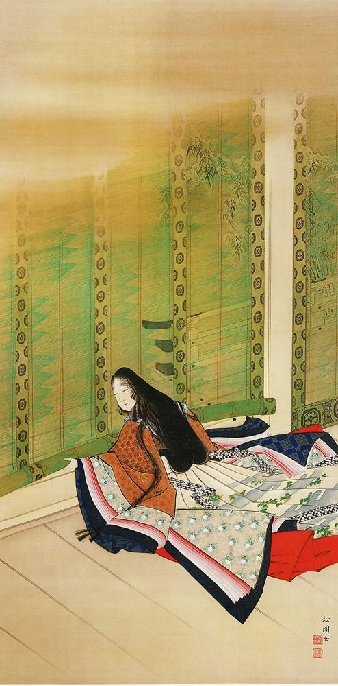 上村松園 清女褰簾之図 1895年