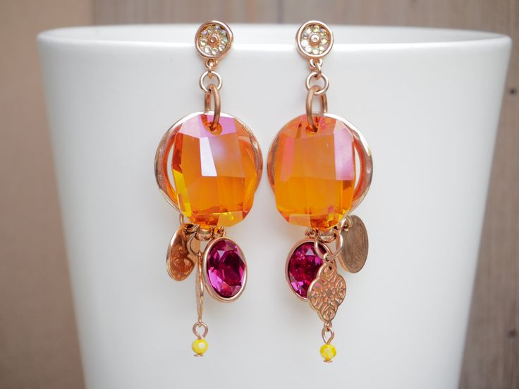 Big swarovski chunk earrings, Orange and pink swarovski earrings by NothingbutChic on Etsy