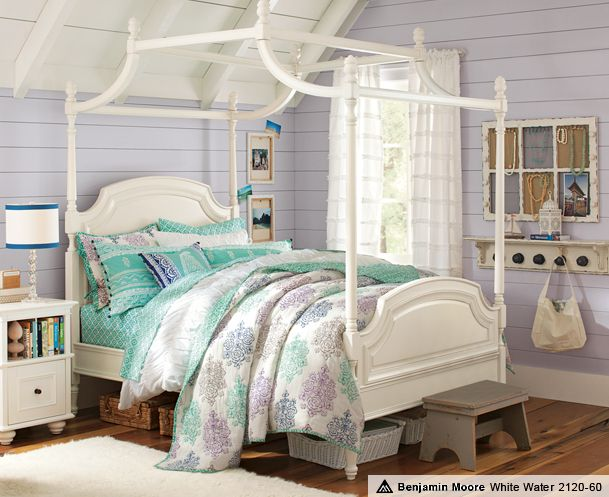 Lavender Walls With Teal Bedding White Canopy Beds Coraline Blockprint Boho Bedroom Pbteen