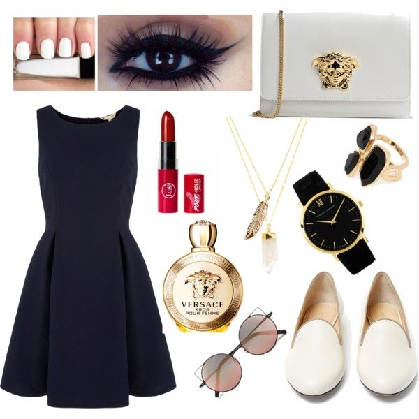 Untitled #3 by luvjb00 on Polyvore featuring polyvore fashion style Yumi Charlotte Olympia Versace Larsson & Jennings River Island Privileged Linda Farrow
