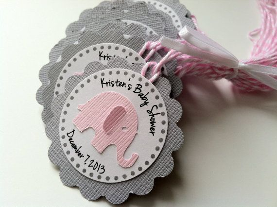20 Pink and Grey Elephant Personalized Tags by PaperTrailbyLauraB
