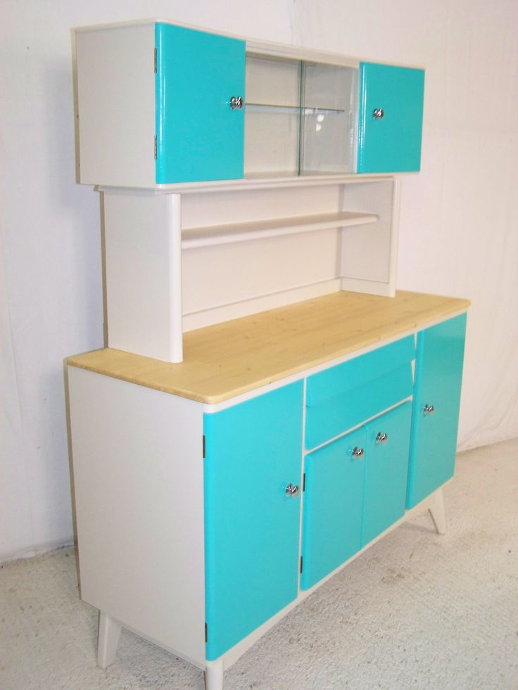 reworked vintage retro 1950s kitchen cabinet  @Kristin Braden Look at that color!  It's the exact same as that door in the kitchen of that house!