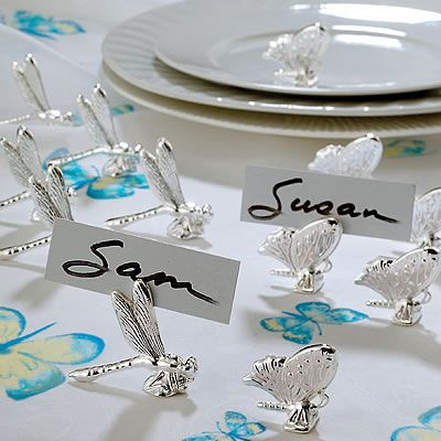i really love these name holders for the tables  Google Image Result for http://anythingeverythinghere.com/wp-content/uploads/2012/04/dragonfly1.jpg