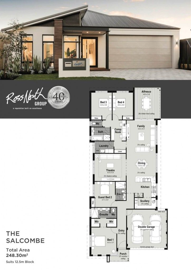Ross North Homes The Salcombe Is A Stylish 12 5 Metre Home Design That Offers Great Features And Great Va My House Plans Modern House Plans Dream House Plans