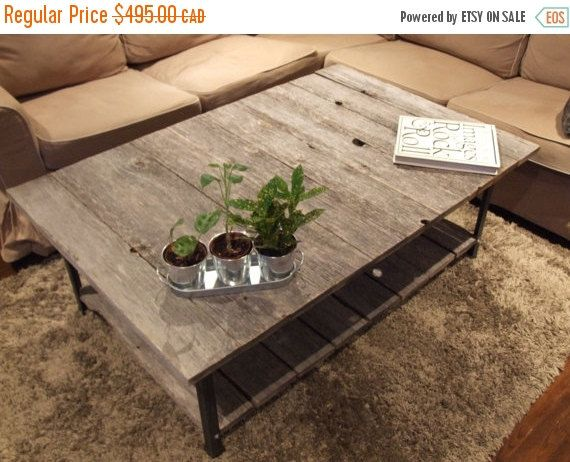 SALE Barn Wood Rail Road Track Coffee Table by ArtistandCarpenter