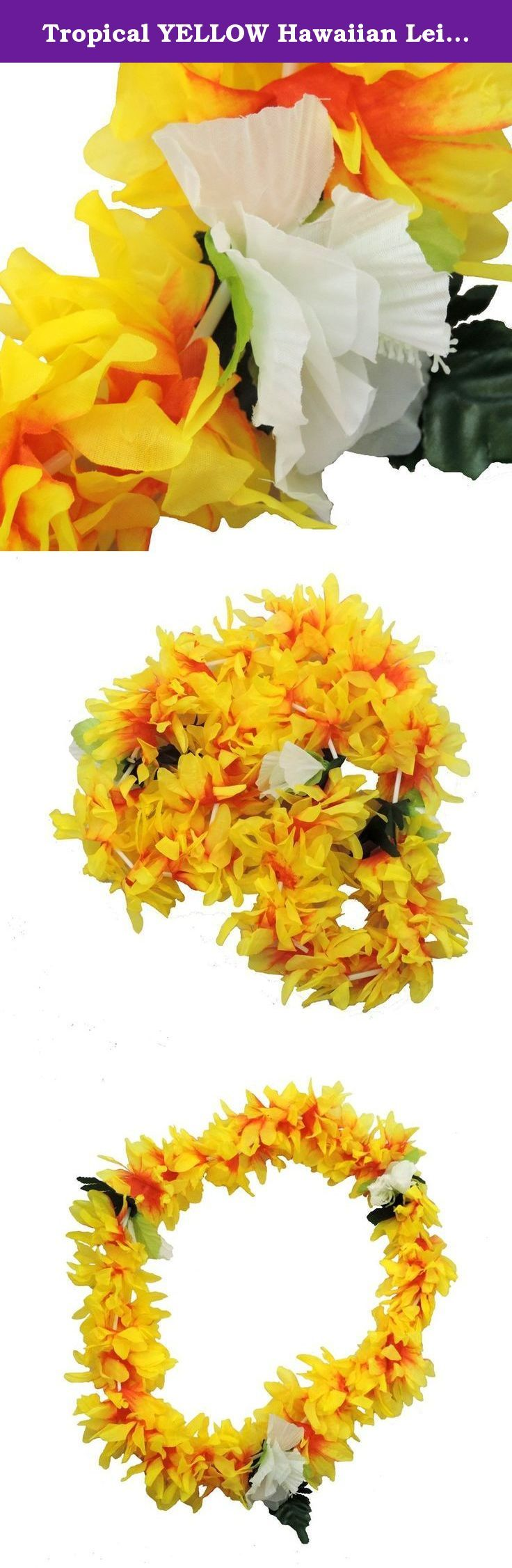 Tropical YELLOW Hawaiian Lei Polynesian Faux Hybiscus Flower Necklace. Hit the beach with this fun and festive flower lei. Great for vacations, weddings, parties or just playing dress up. Stunning Yellow color with white/green flower accents.