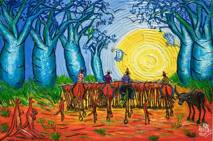 """Ringers in the sunset"" acrylic on canvas artist Ray Reeves"