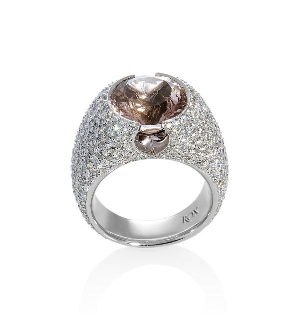 Morganite and Diamond Ring by ROX - Features a round cut dusty pink Morganite and 327 round brilliant cut diamonds.