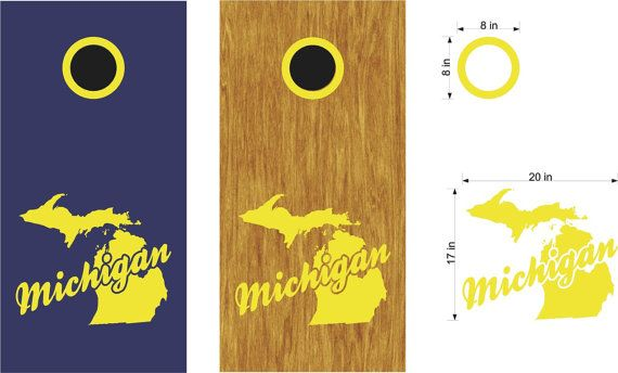 Michigan State Cornhole Board Decals Stickers Bean Bag Toss With Rings - Personalized Cornhole- Custom Cornhole Decals-Vinyl Stickers