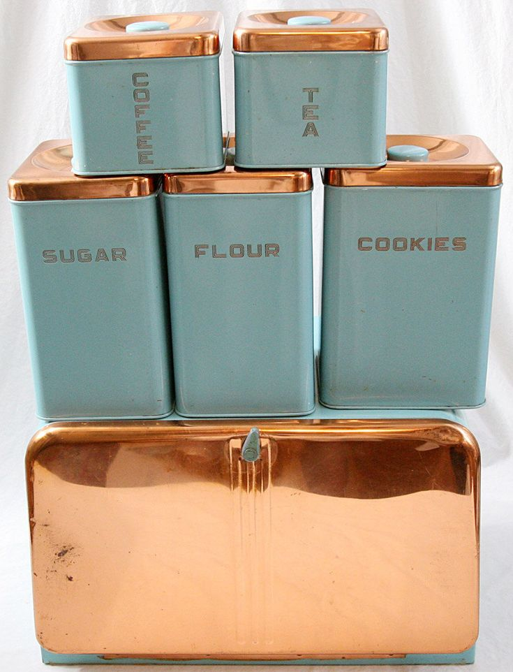 Shabby chic vintage craze. Cute. CanisterSet #turquoise Lincoln Beautyware Kitchen Canister Set (6) Turquoise Copper BeautyBox Bread Box. $95.00, via Etsy.