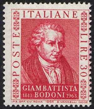 Pic portrait – Poste Italiane, Giambattista Bodoni 1813-1963