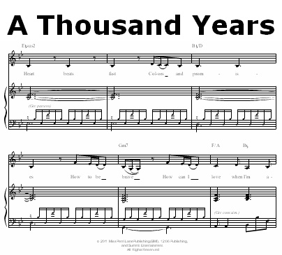 a thousand years piano notes