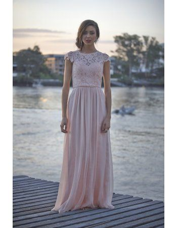 Vintage Cap Sleeve Bateau Neck Lace Coast Prom Dress
