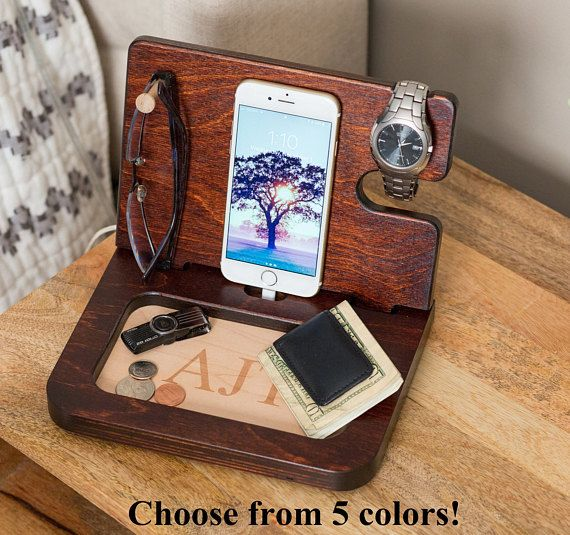 Mens Birthday Gift / Docking Station / gifts for men  Are you looking for unique gift ideas for men, gifts for a boyfriend, or a gift for him, then check out this wooden apple watch stand that makes a great personalized men's gift that serves as a docking station, desk organizer and