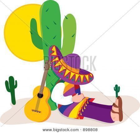 images+of+cactus+with+sleeping+mexican+with+sombrero | Colorful man with sombrero sleeping by a cactus
