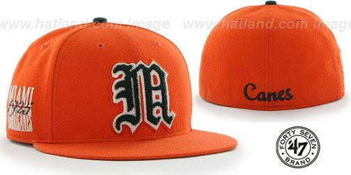 Miami 'NCAA CATERPILLAR' Orange Fitted Hat by 47 Brand on hatland.com