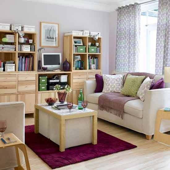 Good Looking Decorating Small Living Room Design Showing Small Sofa  Featuring White Cooktail Table Above Dark Blue Rug On Wooden Floor Also  Large Oak ... Part 83