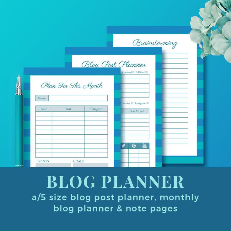 Monthly Blog Planner Set with Blog Post Planner & Brainstorming Sheet / Printable Blog Planner / INSTANT DOWNLOAD by JKBlogBrand on Etsy
