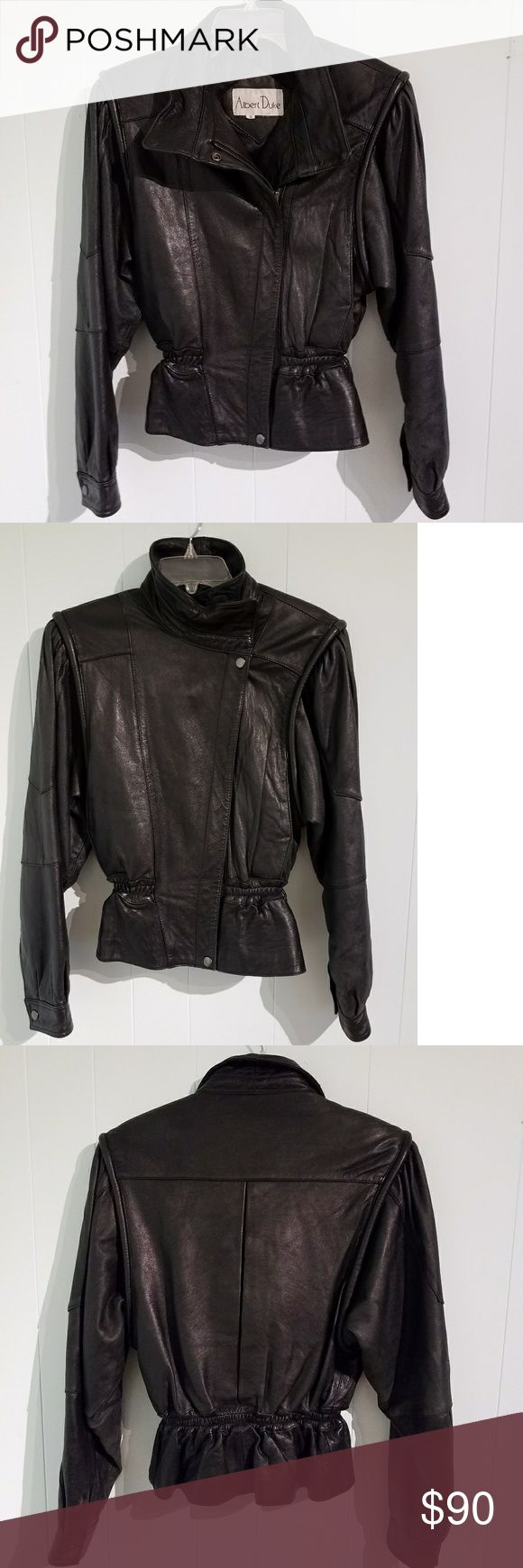 Vintage Black leather Moto Jacket Sz S 80-90's ladies Black Leather Jacket by Albert Duke Sz Small (True to size). Zip (Sturdy zipper) and snap closure, elastic cinched waist. Some distress as to age overall good to very good used condition! Albert Duke Jackets & Coats