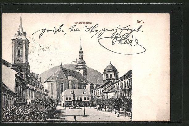 old postcard: AK Brüx / Most, Blick über den Minoritenplatz
