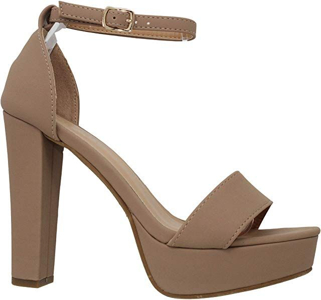 1dd23192595f4 Amazon.com | MVE Shoes Open Toe Ankle Strap Chunky Heel Pumps-Shoes ...