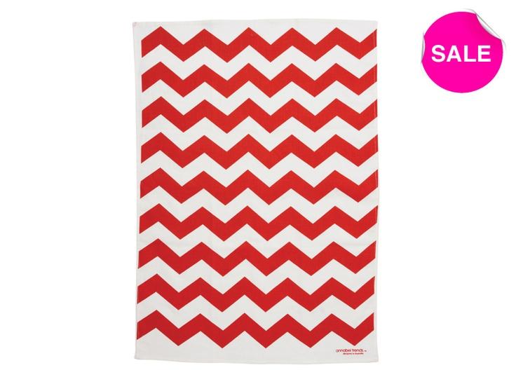 Red chevron tea towel