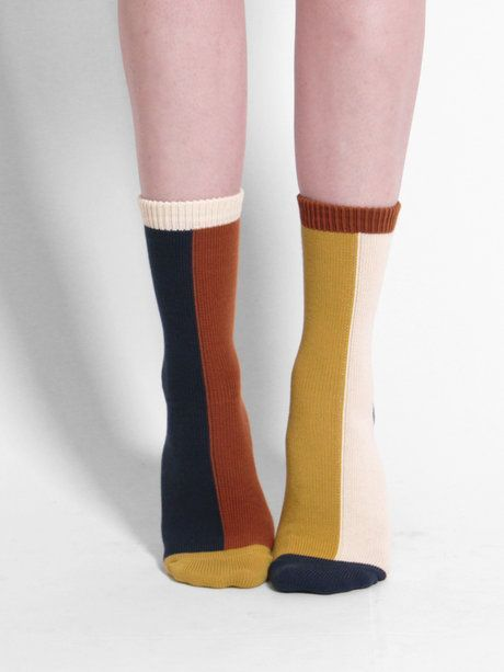 Hansel from Basel Mismatched Crew Sock, colour block, modern, contemporary, colour, autumn