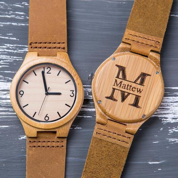 Wood watch,Personalized,Engraved Wooden Watch for Men,Groomsmen Gift,Boyfriend Gift,Birthday Gift for Him,Custom Watch,Anniversary Gift Set